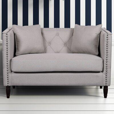 Linen Tufted Nailhead Trim Loveseat Upholstery: Tan
