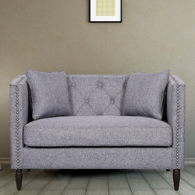 Linen Tufted Nailhead Trim Chesterfield Loveseat Upholstery: Light Gray