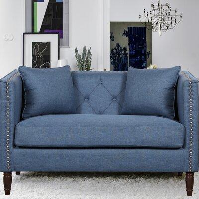 Linen Tufted Nailhead Trim Loveseat Upholstery: Ocean Blue