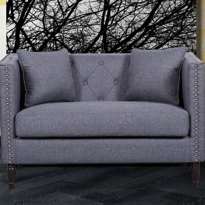 Linen Tufted Nailhead Trim Chesterfield Loveseat Upholstery: Dark Gray