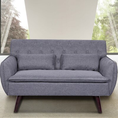 Linen Tufted Loveseat Upholstery: Light Gray