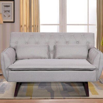 Linen Tufted Loveseat Upholstery: Tan