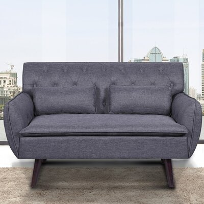 Linen Tufted Loveseat Upholstery: Dark Gray