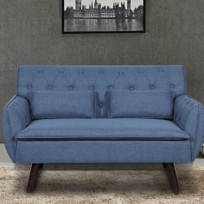 Linen Tufted Loveseat Upholstery: Ocean Blue