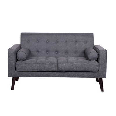 Morre Solid Linen Tufted Loveseat Upholstery: Dark Grey