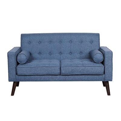 Morre Solid Linen Tufted Loveseat Upholstery: Ocean Blue