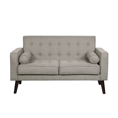 Morre Solid Linen Tufted Loveseat Upholstery: Light Brown
