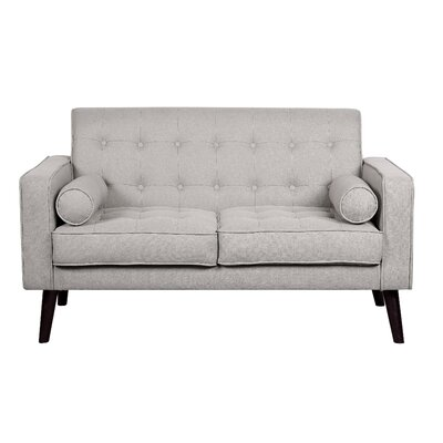 Morre Solid Linen Tufted Loveseat Upholstery: Beige/Light Grey