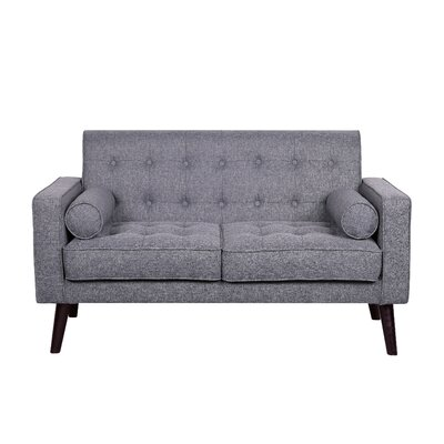 Morre Solid Linen Tufted Loveseat Upholstery: Light Grey