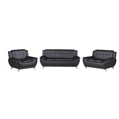 Elzada 3 Piece Modern Living Room Set Upholstery: Black