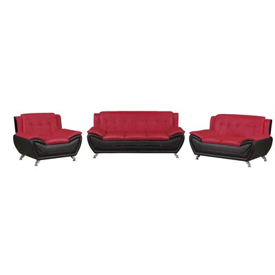 Elzada 3 Piece Living Room Set Upholstery: Red/Black