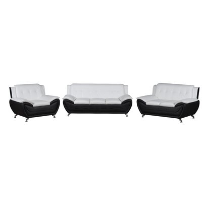 Elzada 3 Piece Modern Living Room Set Upholstery: White/Black