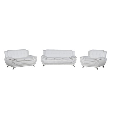 Elzada 3 Piece Modern Living Room Set Upholstery: White