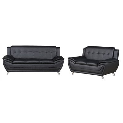Elzada 2 Piece Living Room Set Upholstery: Black