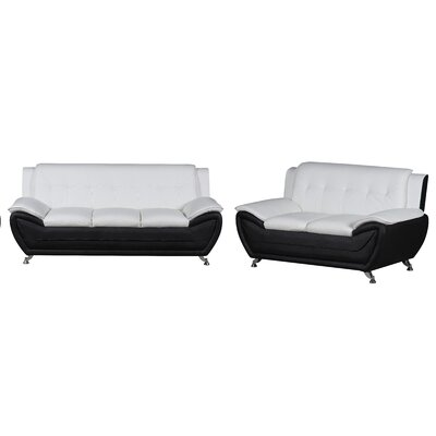 Elzada 2 Piece Living Room Set Upholstery: White/Black