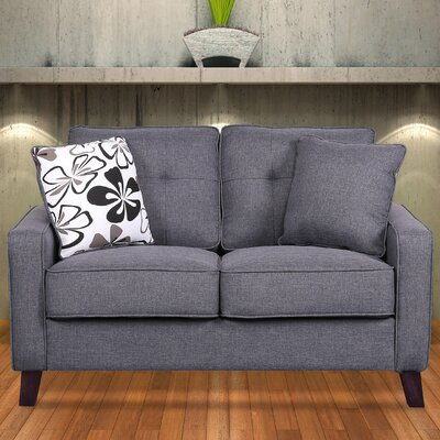 Lilliana Linen Tufted Loveseat Upholstery: Dark Gray