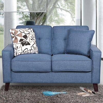 Bains Linen Tufted Loveseat Upholstery: Ocean Blue