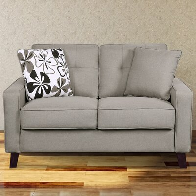 Bains Linen Tufted Loveseat Upholstery: Light Brown