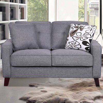 Bains Linen Tufted Loveseat Upholstery: Light Gray