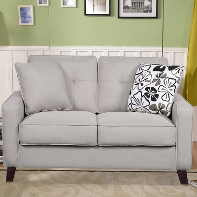 Lilliana Linen Tufted Loveseat Upholstery: Beige/Light Grey