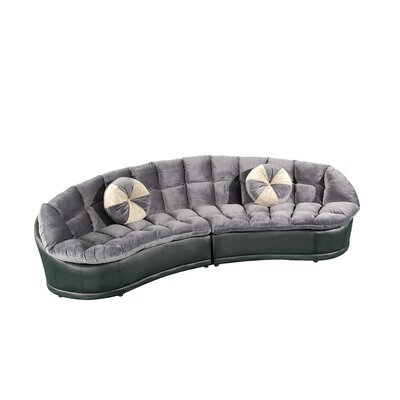 Papasan Sectional with Ottoman Color: Gray