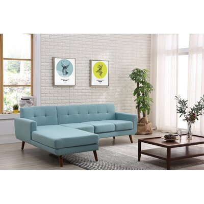 Barnet Mid Century Sectional Upholstery: Eton Blue, Orientation: Right Hand Facing