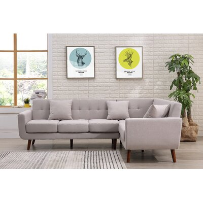 Barnet Sectional Upholstery: Beige/Tan, Orientation: Right Hand Facing