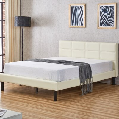 Hilyard Upholstered Platform Bed Size: Queen, Color: White