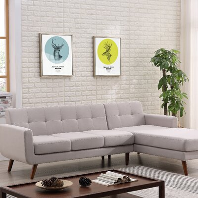 Conor Sectional (Set of 2) Upholstery: Gray, Orientation: Right Hand Facing