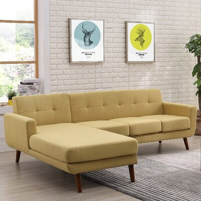 Barnet Mid Century Sectional (Set of 2) Orientation: Left Hand Facing, Upholstery: Naples Yellow