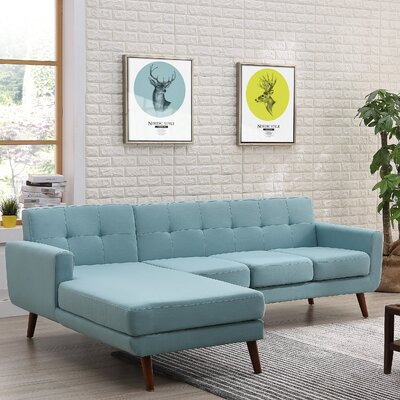 Barnet Mid Century Sectional Upholstery: Eton Blue, Orientation: Left Hand Facing