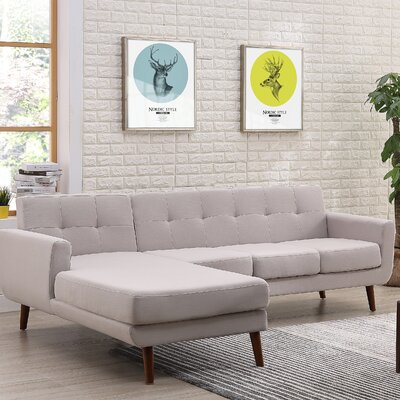 Barnet Mid Century Sectional (Set of 2) Upholstery: Gray, Orientation: Left Hand Facing