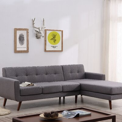 Barnet Mid Century Sectional (Set of 2) Upholstery: Beige/Tan, Orientation: Right Hand Facing