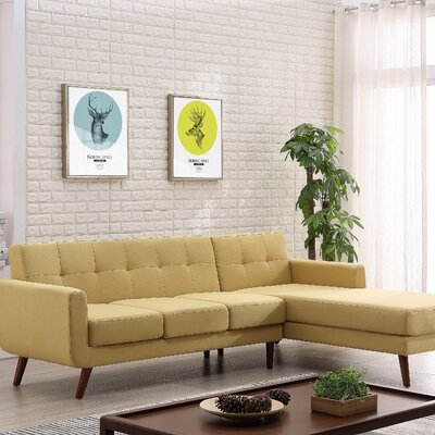Barnet Mid Century Sectional (Set of 2) Upholstery: Naples Yellow, Orientation: Right Hand Facing