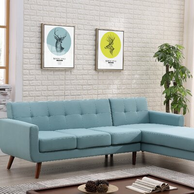 Barnet Mid Century Sectional (Set of 2) Upholstery: Eton Blue, Orientation: Right Hand Facing