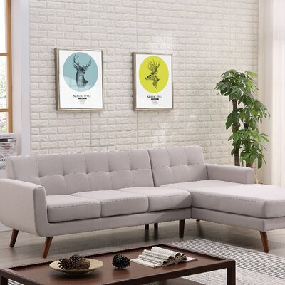 Barnet Mid Century Sectional (Set of 2) Upholstery: Gray, Orientation: Right Hand Facing