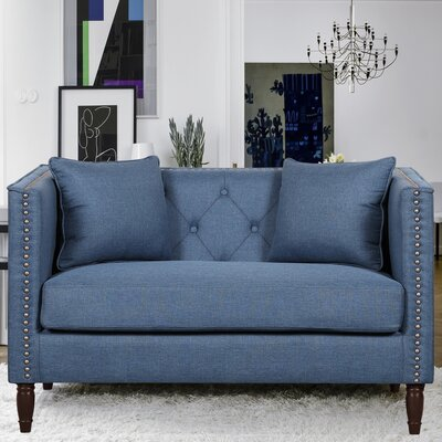 Linen Tufted Nailhead Trim Chesterfield Loveseat Upholstery: Ocean Blue