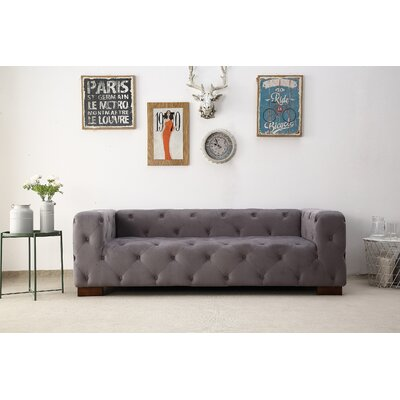 Ossett Tufted Elegant Chesterfield Sofa Upholstery: Gray