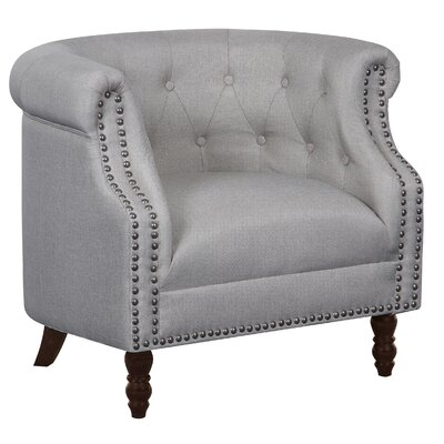 Willisville Button Tufted Chesterfield Chair Upholstery: Beige/Light Gray