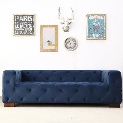 Ossett Tufted Elegant Chesterfield Sofa Upholstery: Dark Blue