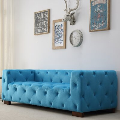 Ossett Tufted Elegant Cheaterfield Sofa Upholstery: Teal Blue