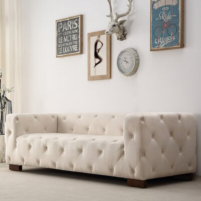 Ossett Tufted Elegant Chesterfield Sofa Upholstery: Beige/Tan
