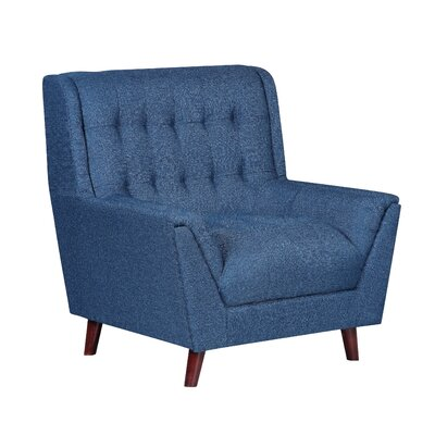 Asha Tufted Mid Century Arm Chair Upholstery: Ocean Blue