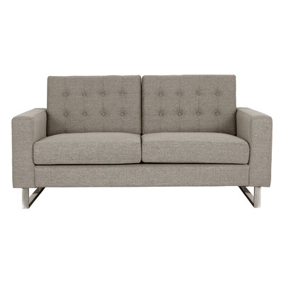 Zander Tufted Loveseat Upholstery: Brown
