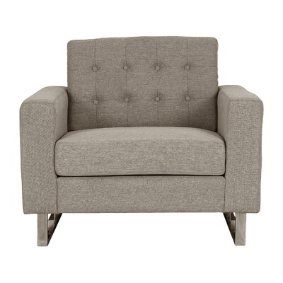 Zander Tufted Arm Chair Upholstery: Brown