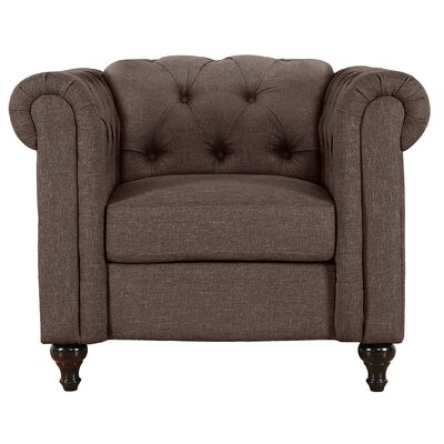 Jemima Chesterfield Chair Upholstery: Dark Brown