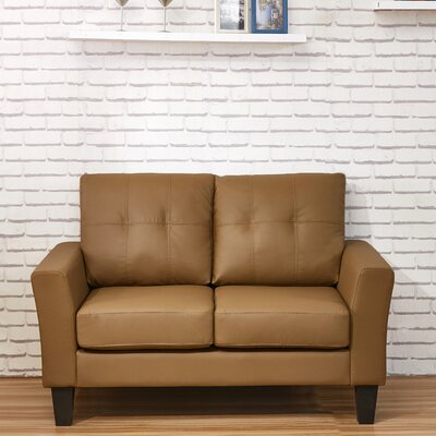 Althea Tufted Loveseat Upholstery: Brown