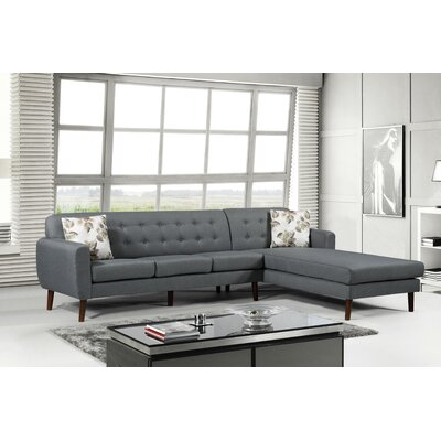 Jayant Mid Century Tufted Sectional Upholstery: Gray, Orientation: Right