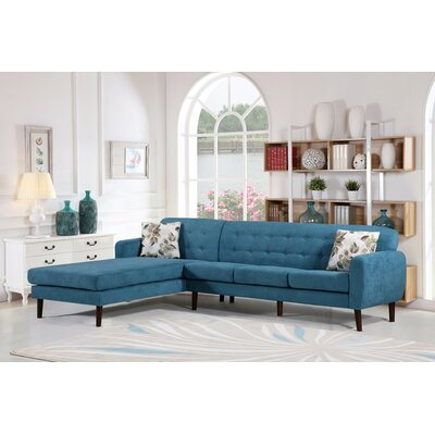 Jayant Mid Century Tufted Sectional Upholstery: Teal, Orientation: Right