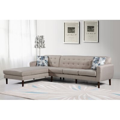 Jayant Mid Century Tufted Sectional Upholstery: Beige/Tan, Orientation: Left
